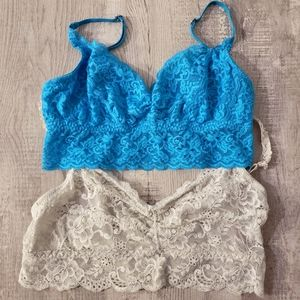 Gilly Hicks & Tarea Lace 2 Bralette Lot Small
